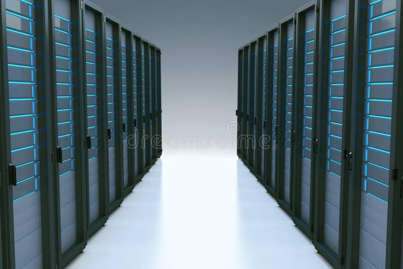 Filas de los servidores de red en centro de datos con efecto de la reflexión 3d ilustración del vector