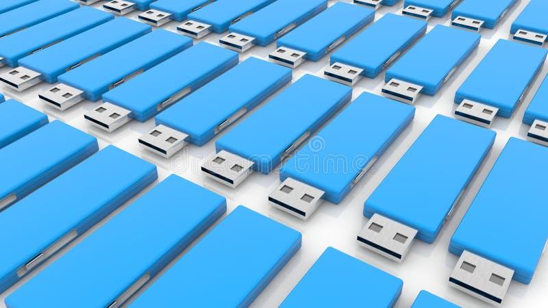 Filas de memorias USB azules del usb en blanco libre illustration