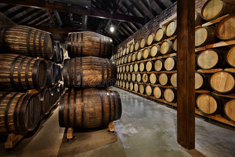 Filas de tambores alcohólicos en existencia destilería Coñac, whisky, vino, brandy Alcohol en barriles foto de archivo libre de regalías