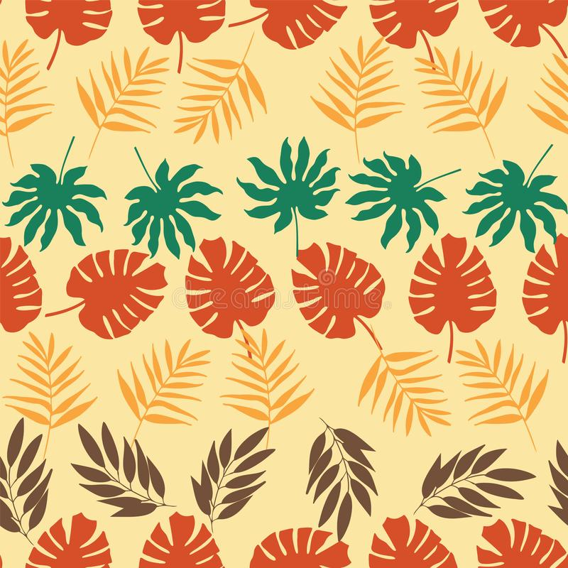 Filas horizontales del vector del modelo inconsútil de las hojas tropicales libre illustration