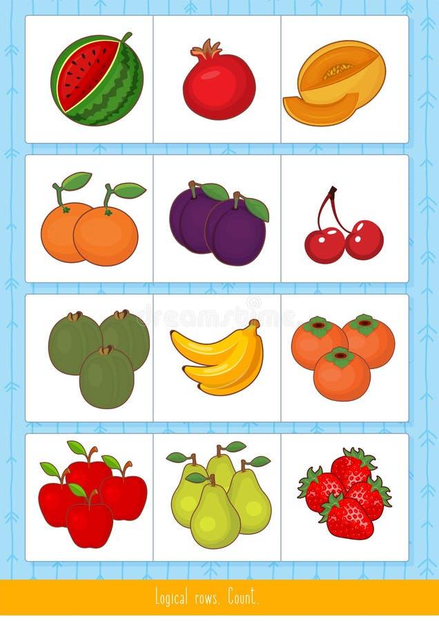 Filas lógicas para los niños ilustración del vector