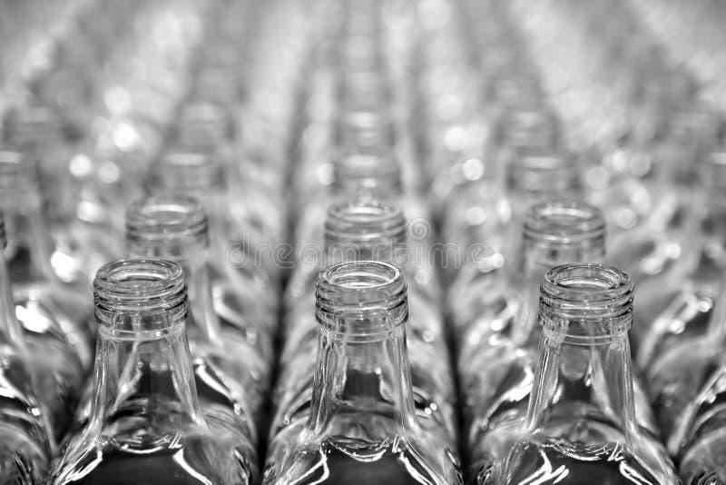 Filas transparentes cuadradas de cristal de la botella foto de archivo libre de regalías