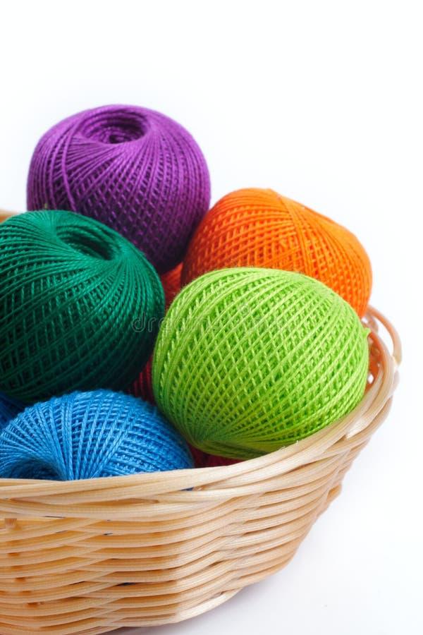 Filati per il lavoro a maglia nel cestino immagine stock
