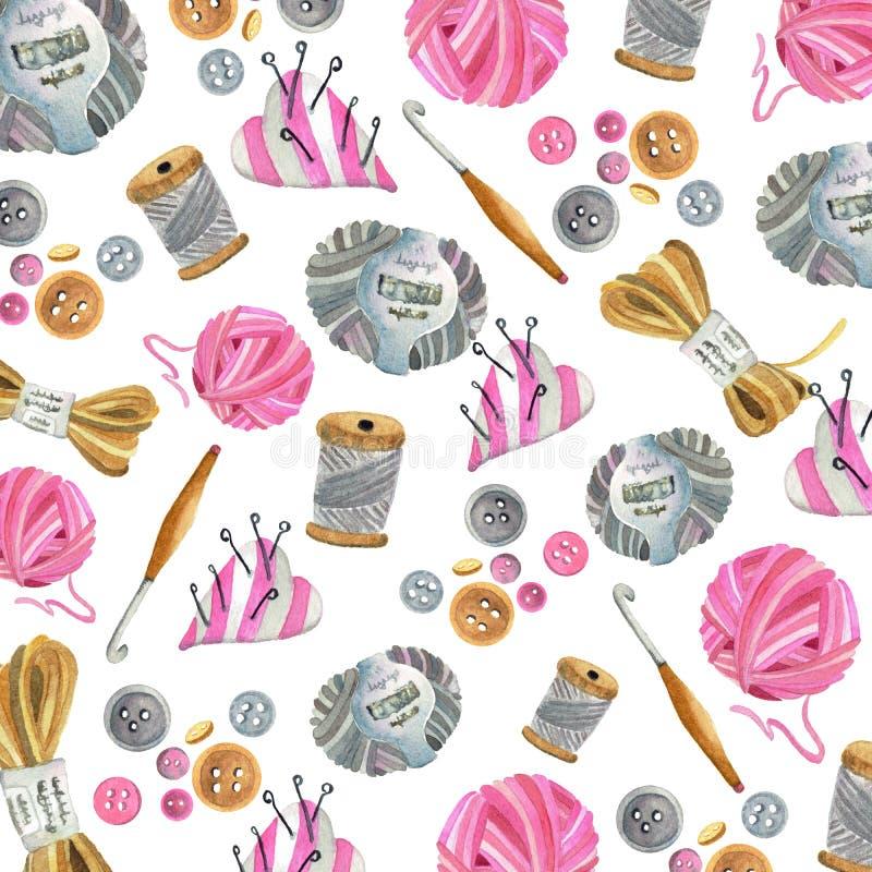 Filato, uncinetto, bottoni, passo, barra dell'ago royalty illustrazione gratis