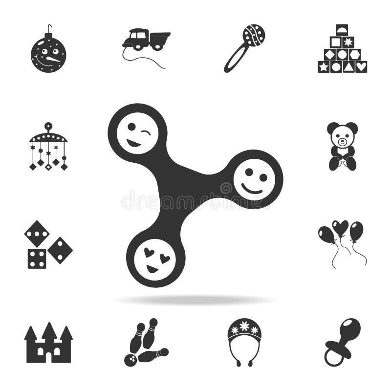 Filatore di irrequietezza con l'icona dei fronti L'insieme dettagliato del bambino gioca le icone Progettazione grafica di qualit illustrazione di stock