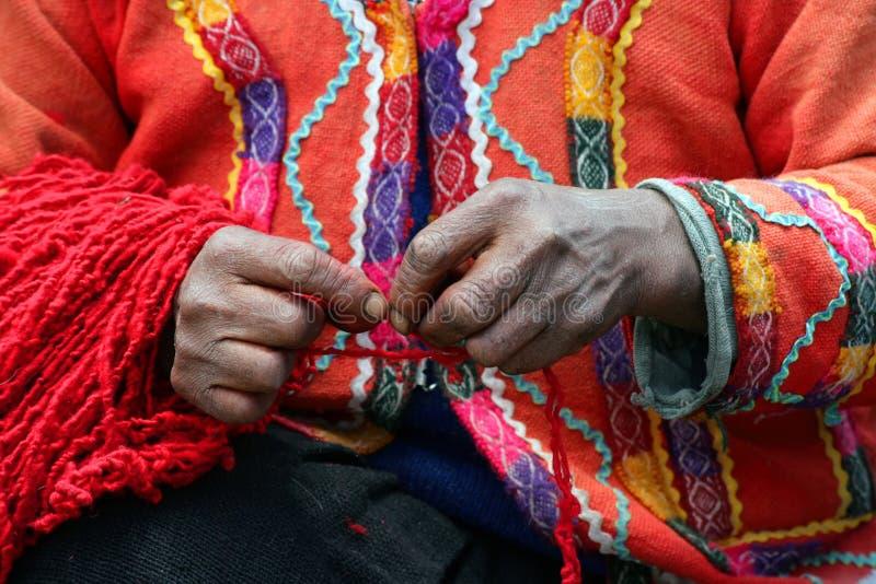 Filatore peruviano del filato immagini stock libere da diritti