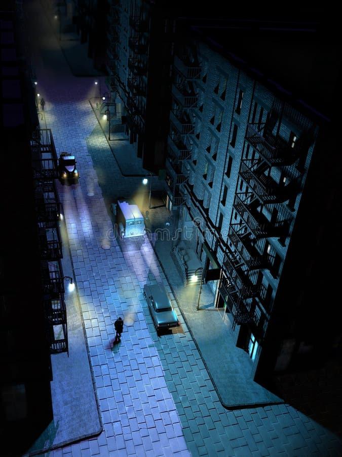 Filature la nuit illustration de vecteur
