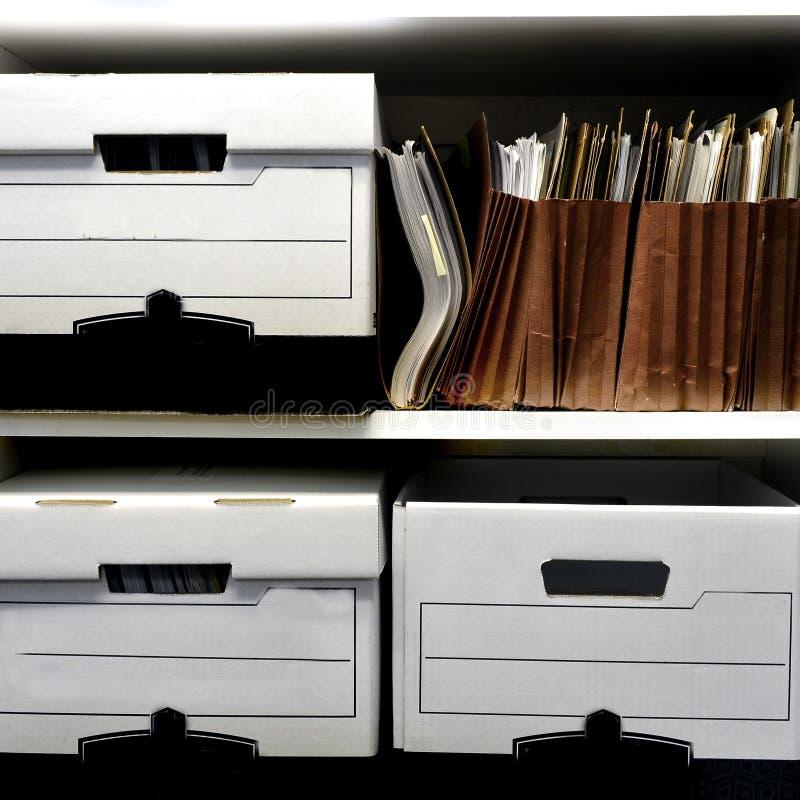 File Boxes on Shelf stock photos