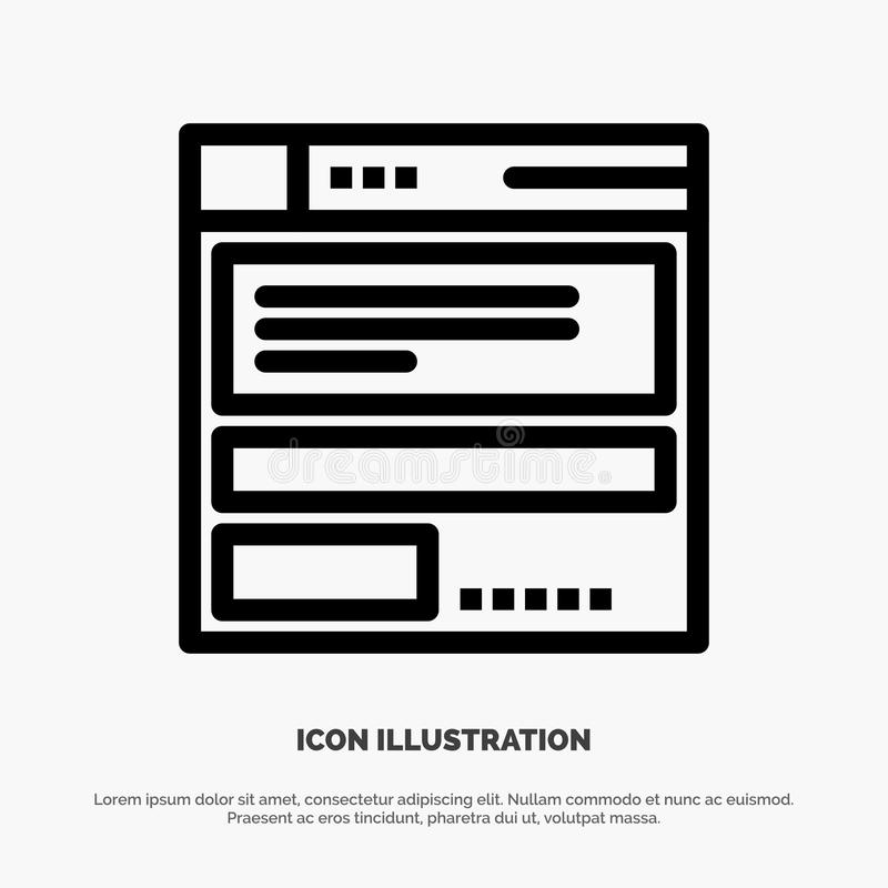 File, Browser, Computing, Code Vector Line Icon royalty free illustration