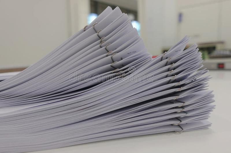 File of business report paper on office desk, for conference stock photos