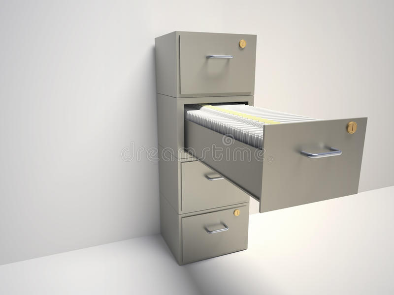 File cabinet. With an open drawer with folders - 3d render illustration stock illustration