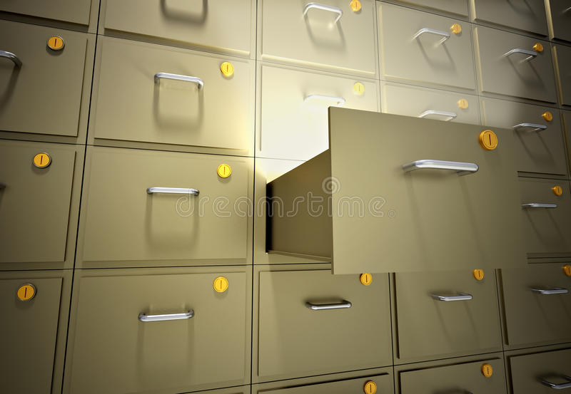 File cabinet. With an open drawer - 3d render illustration royalty free illustration