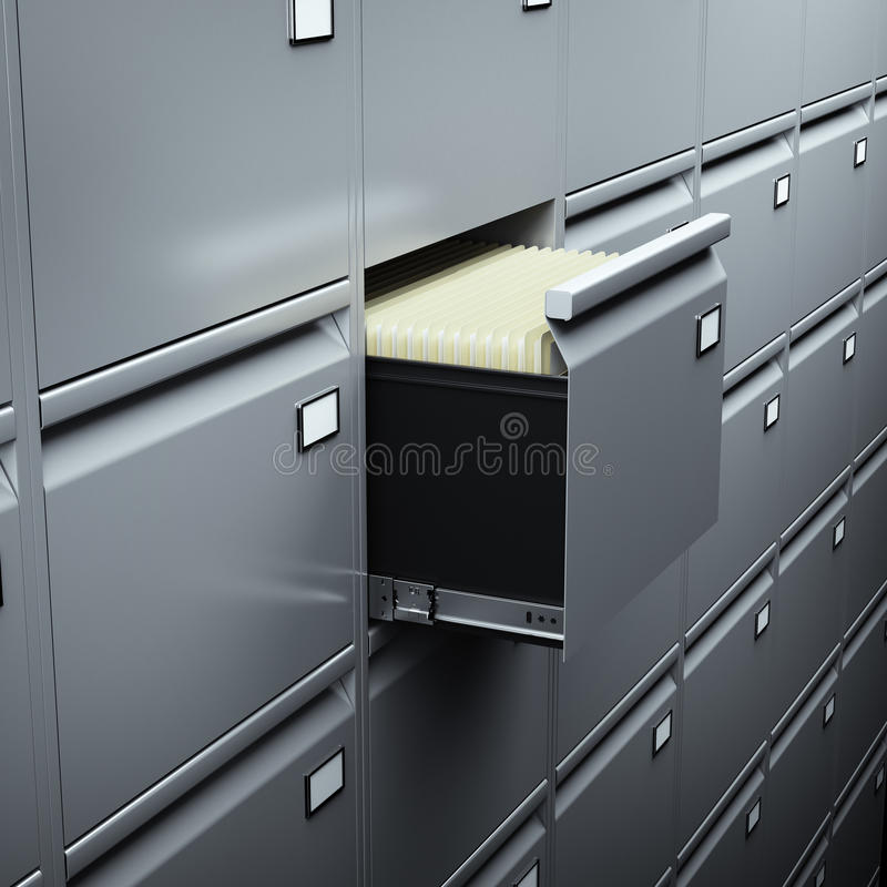 File cabinet with documents royalty free illustration