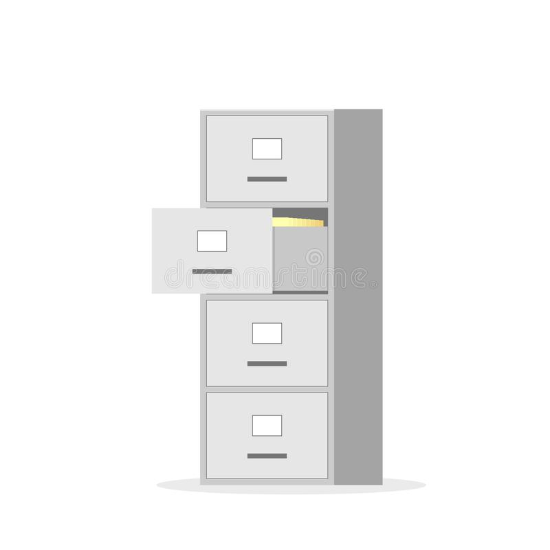 File cabinet with four drawer. Vector image isolated on white background stock illustration