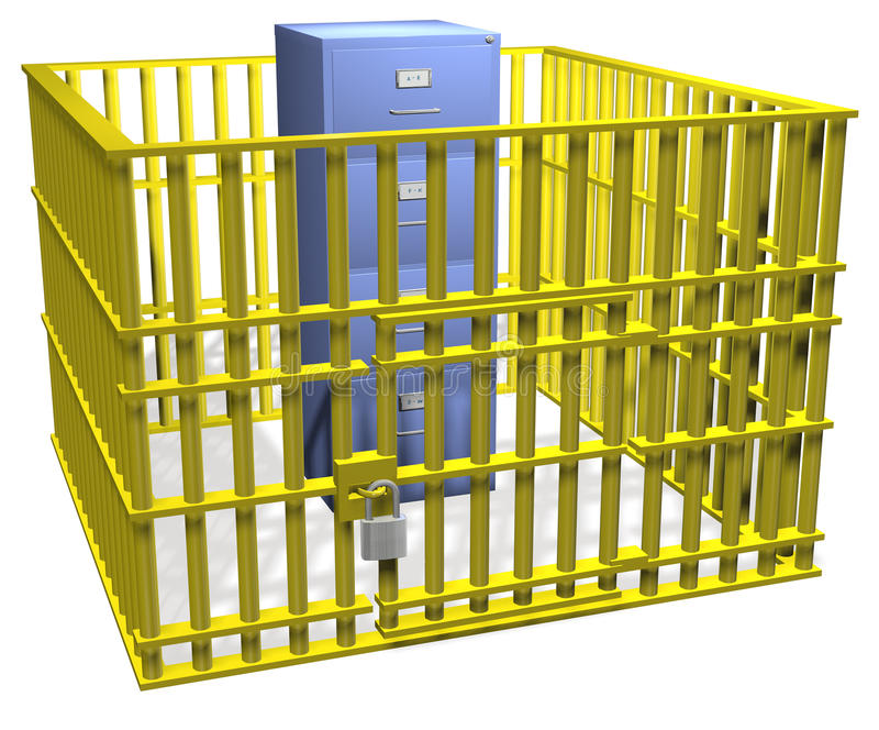 Download File Cabinet Lock Safe In Data Security Cage Stock Photo - Image: 15851540