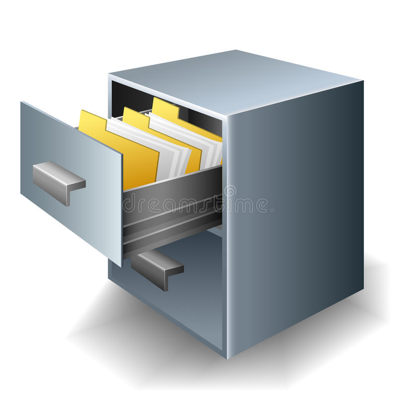 File cabinet. Metallic File cabinet with folders and documents stock illustration