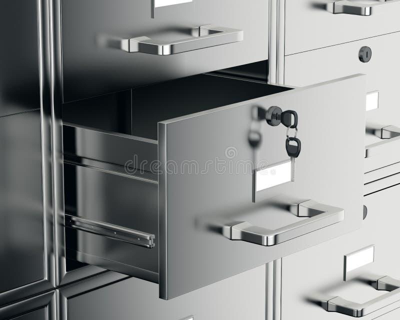 File cabinet with open drawer. 3d render vector illustration