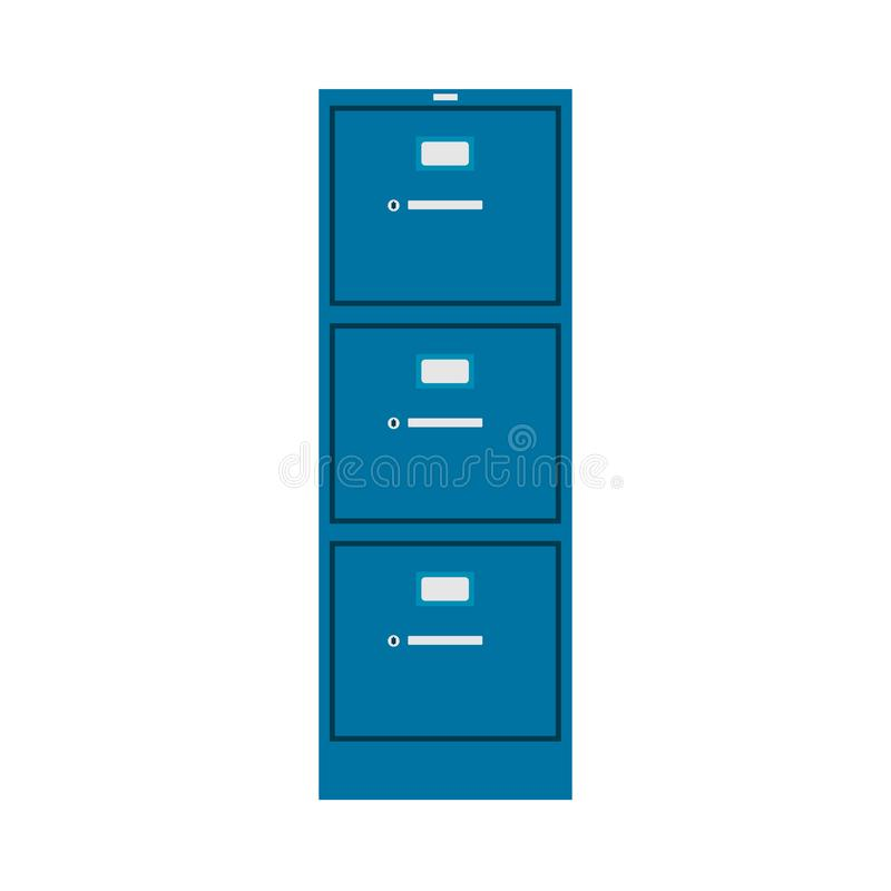 File cabinet vector icon furniture interior management finance catalog library binder. Database metal case office. Datum archive royalty free illustration