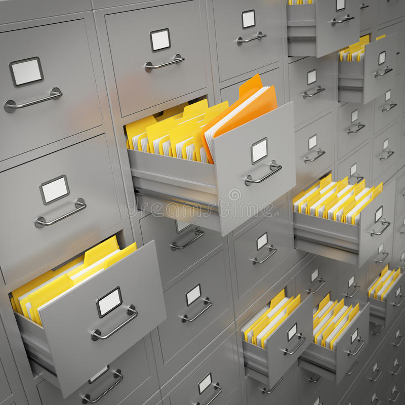 File cabinet. Very high resolution rendering of a large file cabinet royalty free illustration