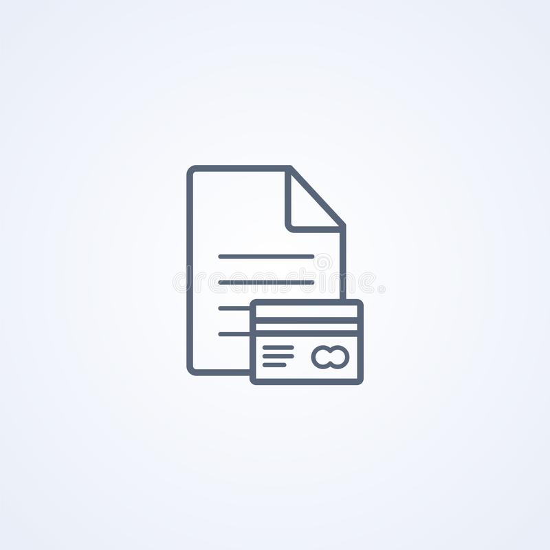 File and credit card, vector best gray line icon stock illustration