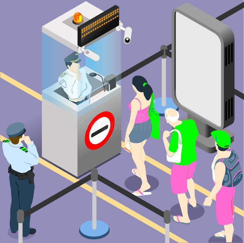 File d'attente de personnes de devoir d'aéroport illustration libre de droits
