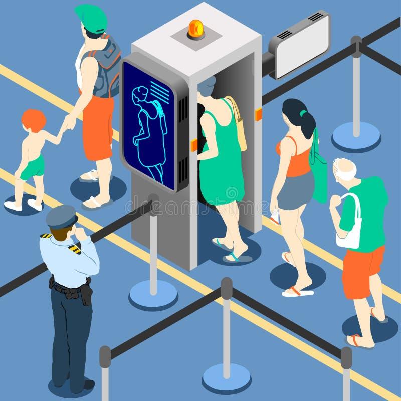 File d'attente isométrique à la machine de point de contrôle de sécurité illustration de vecteur