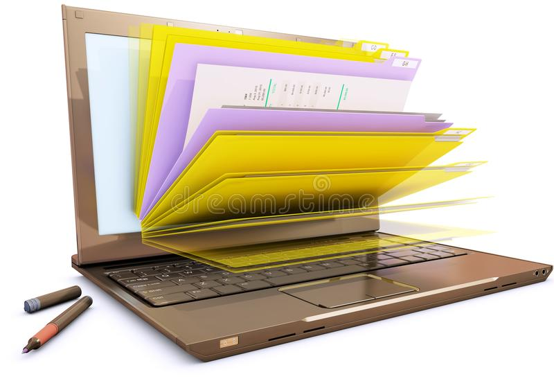 File in database - laptop with folders stock images