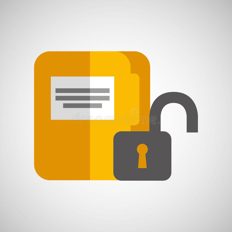File document folder archive safety padlock royalty free illustration