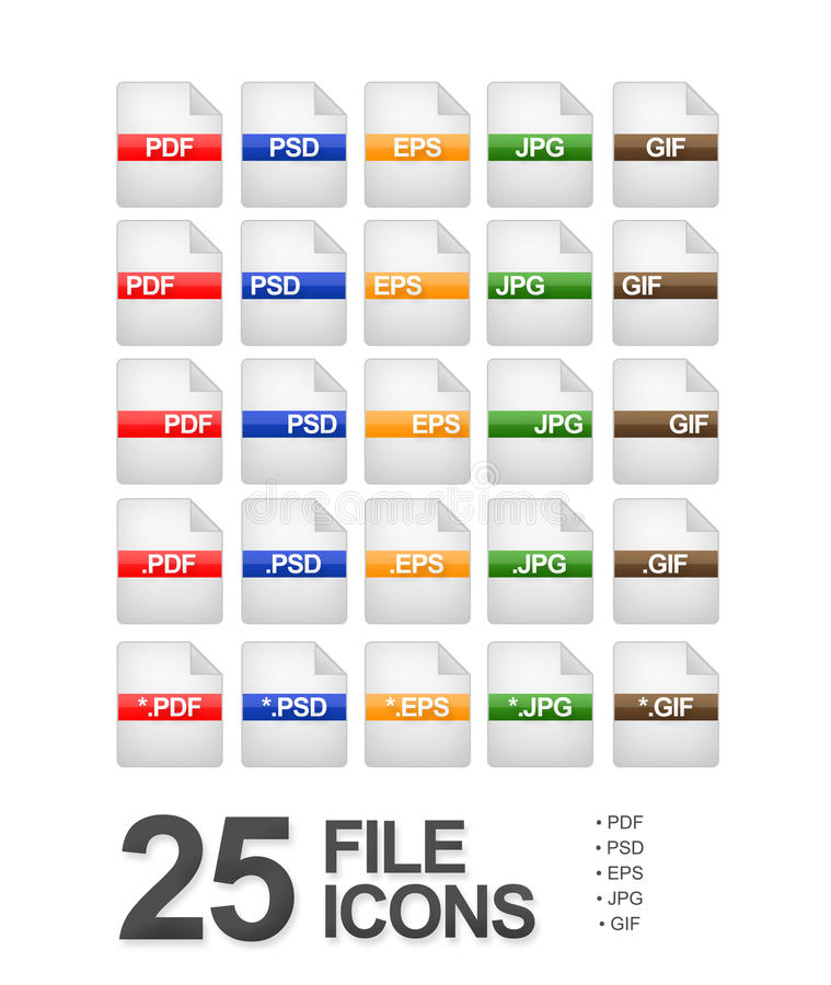 File and Document Icons. Set of 25 file and document icons featuring: PDF, PSD, EPS, JPG and GIF formats vector illustration
