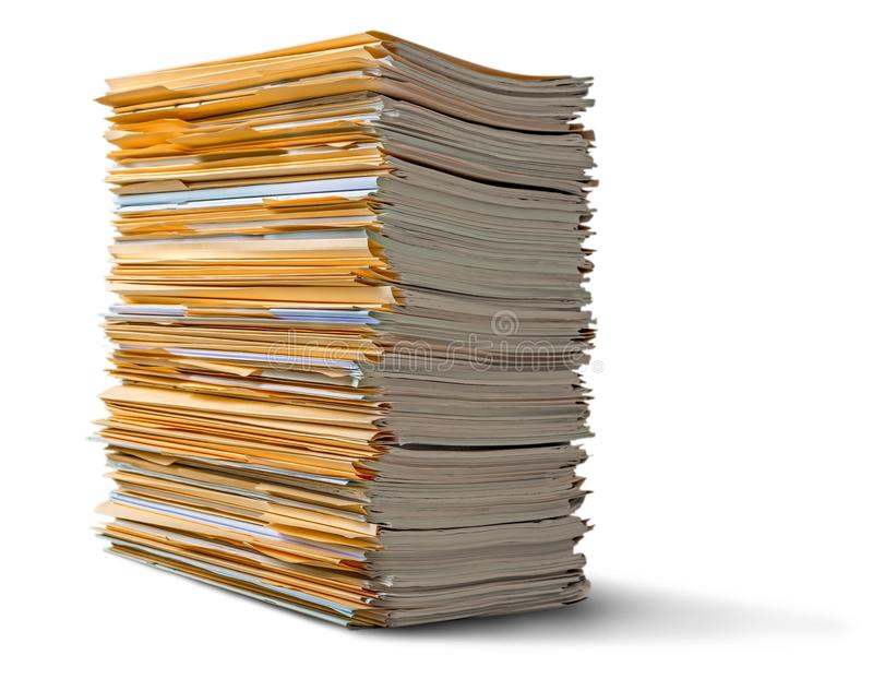 File folders with documents on background. File documents folders white background paper business royalty free stock photography