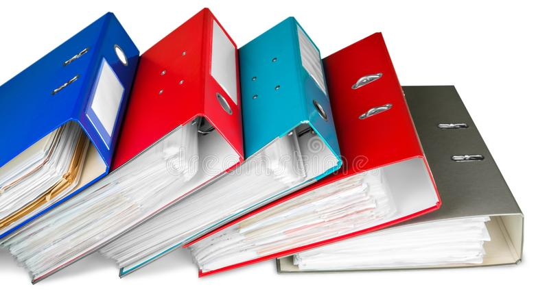 File folders with documents on white background. File documents folders white background paper business royalty free stock photos