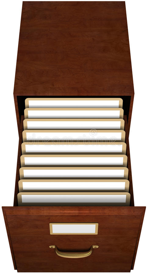 File Drawer. Open file drawer with nine file folders with blank labels isolated with clipping path royalty free illustration
