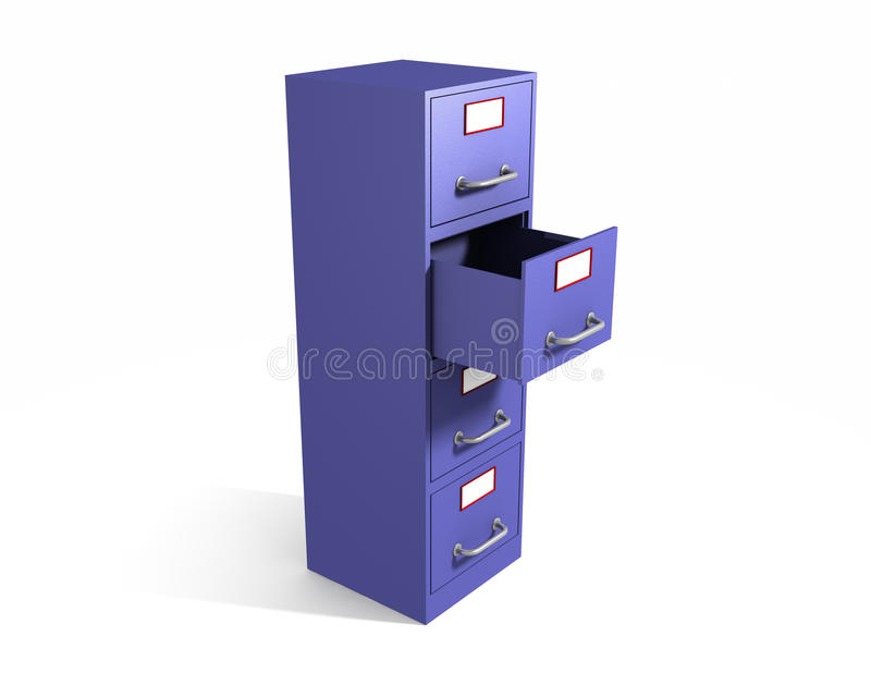 File drawer. 3D rendered file drawer with opened box over white background vector illustration