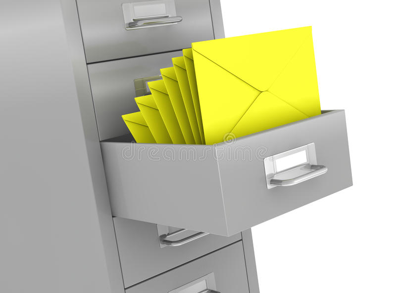 File drawer. One file drawer with a open drawer and some envelopes, concept of organize and archive data (3d render vector illustration