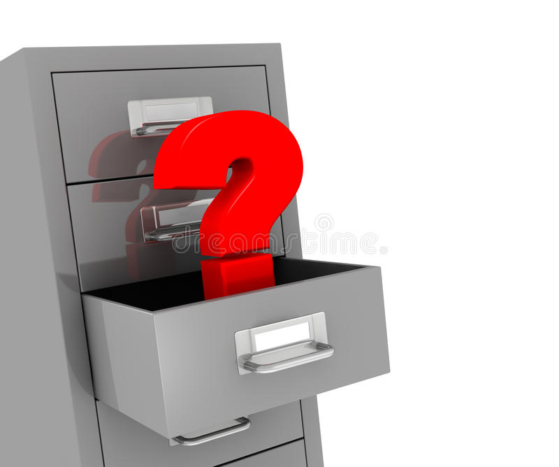 File drawer. One file drawer with a open drawer and a question mark, concept of problem or data loss (3d render stock illustration