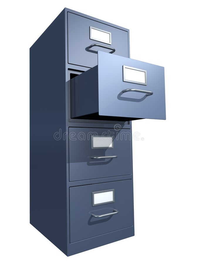 File Drawer. 3D rendered file drawer over white background royalty free illustration