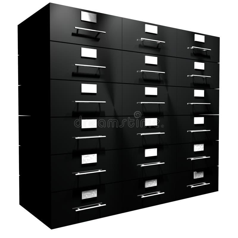 File drawer. Black file drawer isolated over white, 3d render royalty free illustration