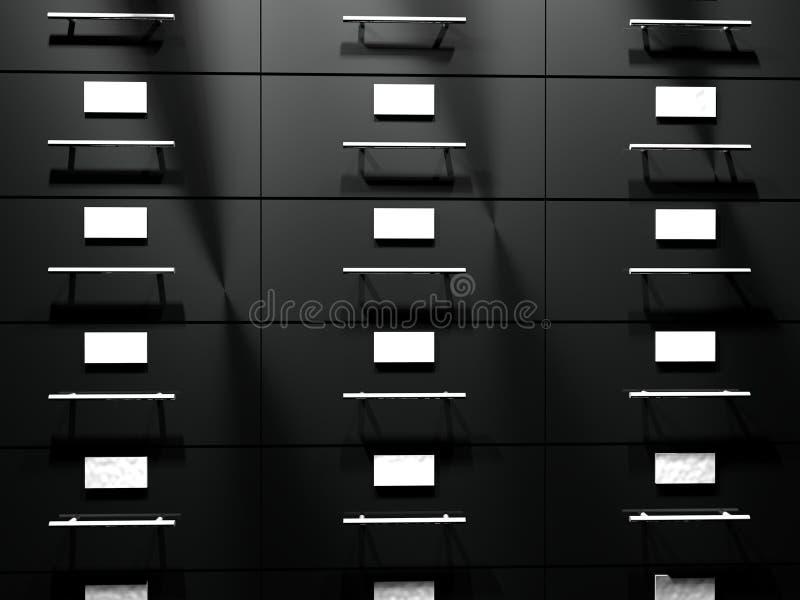 File drawer. Black file drawer in close up, 3d render vector illustration