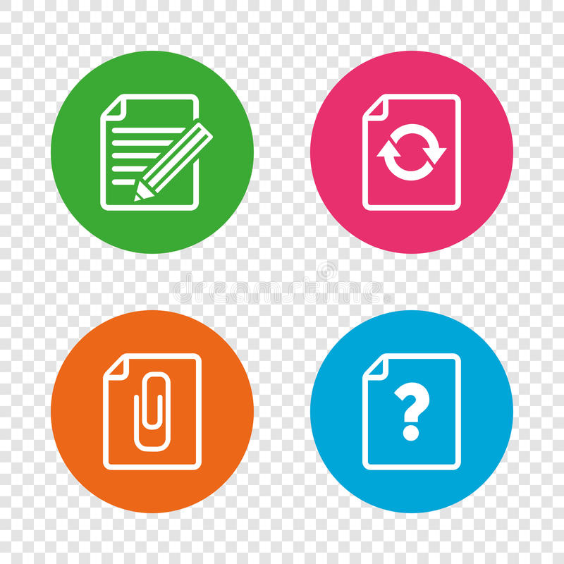 File edit icons. Question help signs. File refresh icons. Question help and pencil edit symbols. Paper clip attach sign. Round buttons on transparent background royalty free illustration