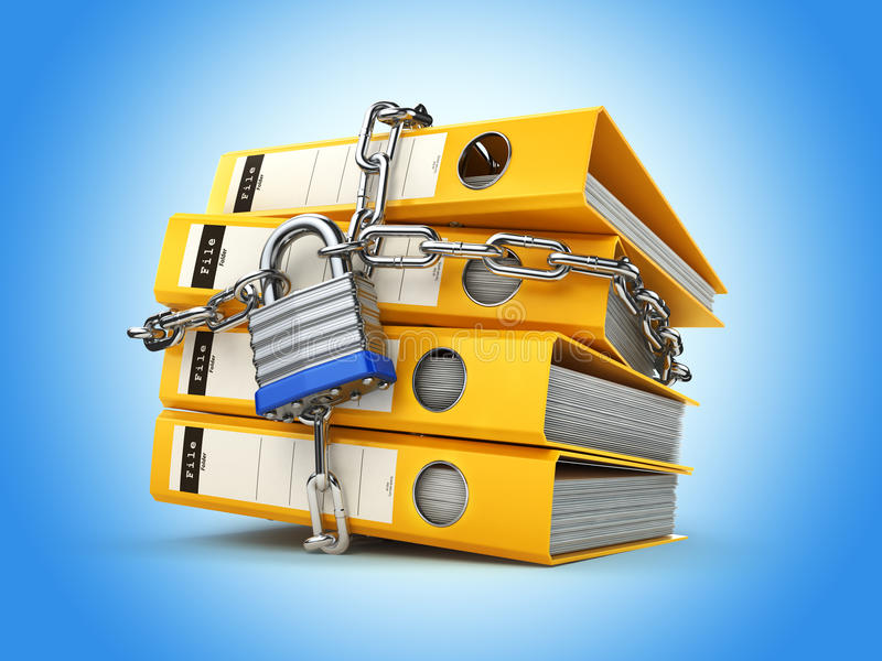 File folder and chain with lock. Data and privacy security. Information protection. 3d stock illustration