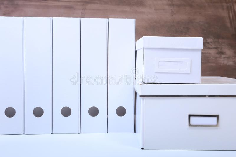 File folder with documents and important document on isolated background.  stock photo