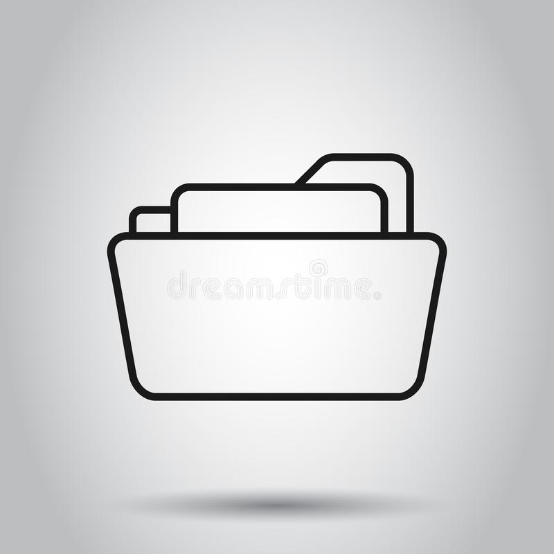 File folder icon in flat style. Documents archive vector illustration on isolated background. Storage business concept stock illustration