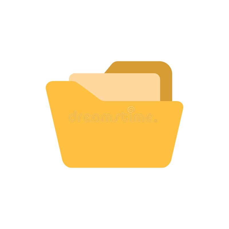 File folder icon in flat style. Documents archive vector illustration on white isolated background. Storage business concept.  royalty free illustration