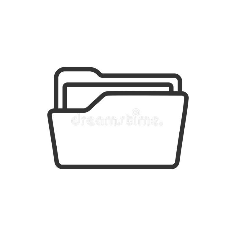 File folder icon in flat style. Documents archive vector illustration on white isolated background. Storage business concept.  stock illustration