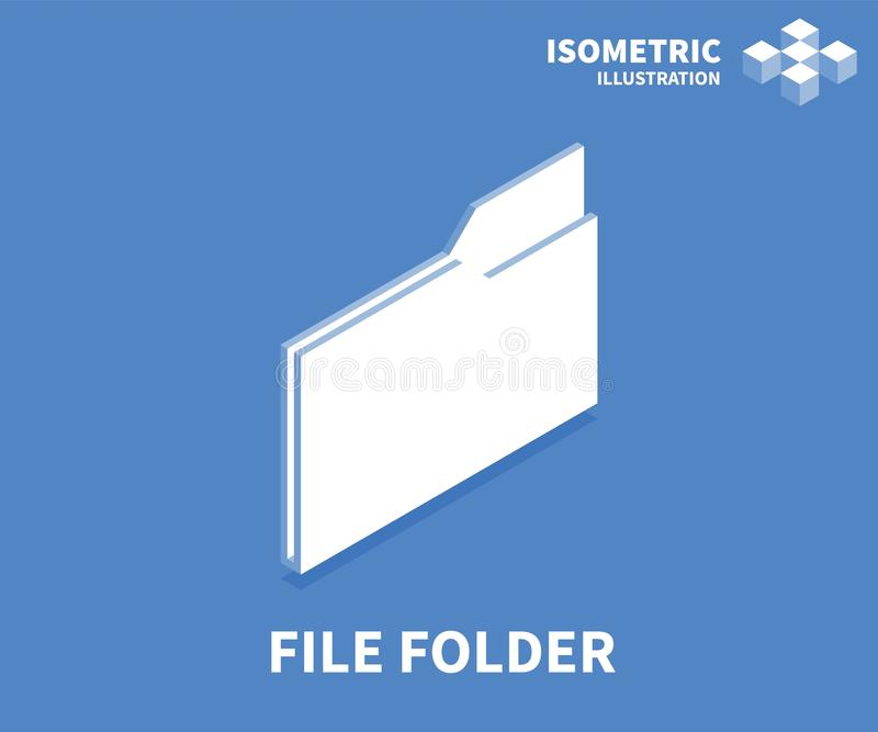File folder icon. Isometric template for web design in flat 3D style. Vector illustration.  stock illustration