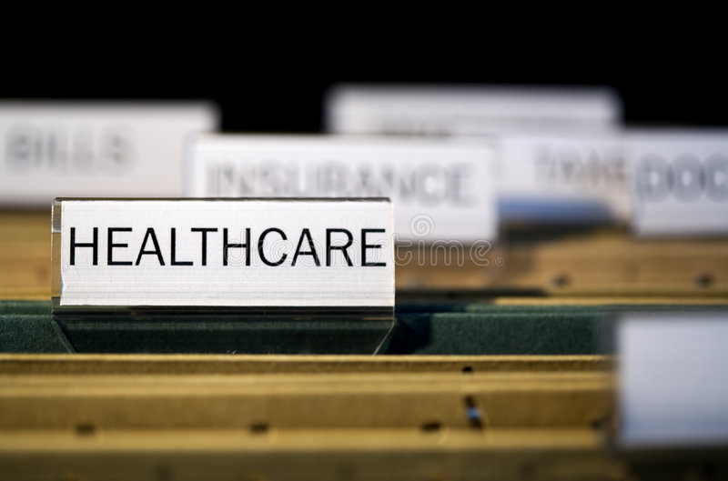File folder labeled healthcare stock image