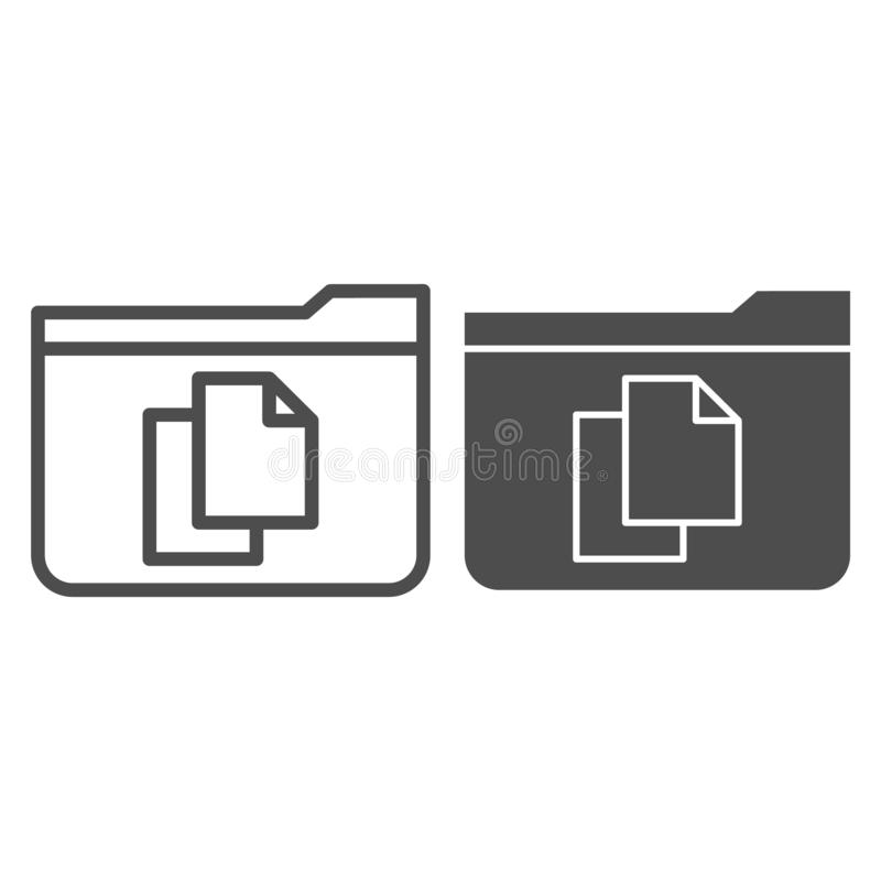 File folder line and glyph icon. Folder with documents vector illustration isolated on white. Computer folder outline. Style design, designed for web and app stock illustration