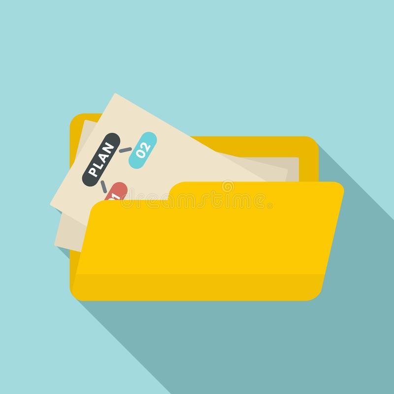 File folder management icon, flat style stock illustration