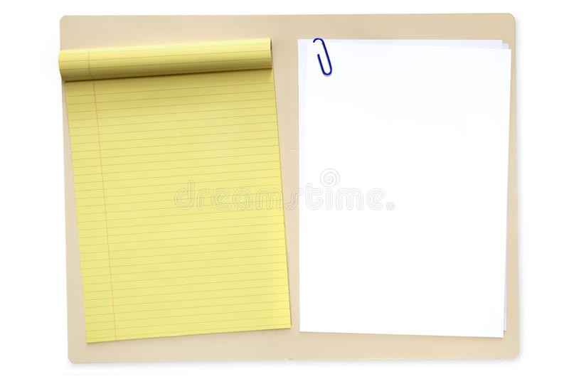File Folder with Notepad and Paper