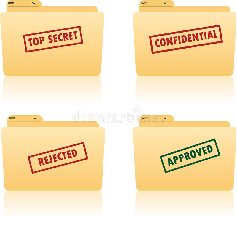 File folder with place for label. With top secret, confidential, approved, rejected texts on vector illustration